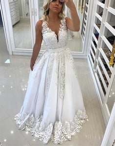 White pearls appliques v neck A line long prom dress, white evening dress,BD3112