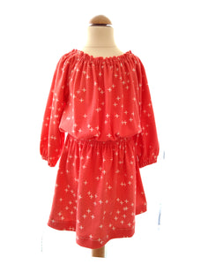 Starry Coral Gathered Dress
