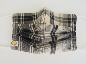 Reusable ADULT Face mask -  B & W Plaid