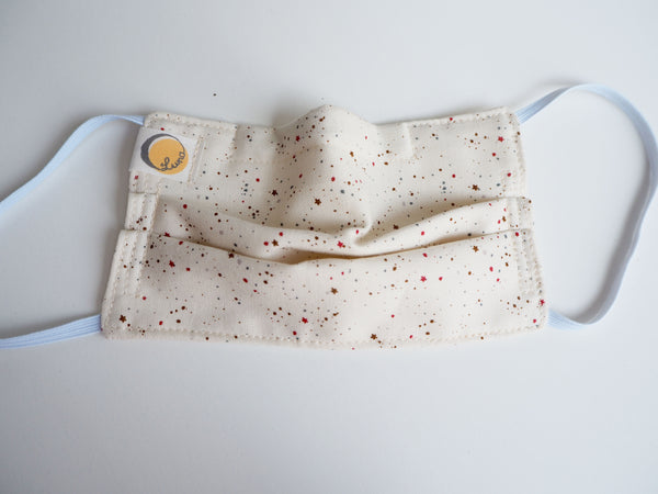 Reusable CHILD Face mask -  Stars and Dots White