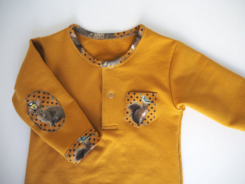 Sweat Polo Footie- Gold mustard with animals from the wood