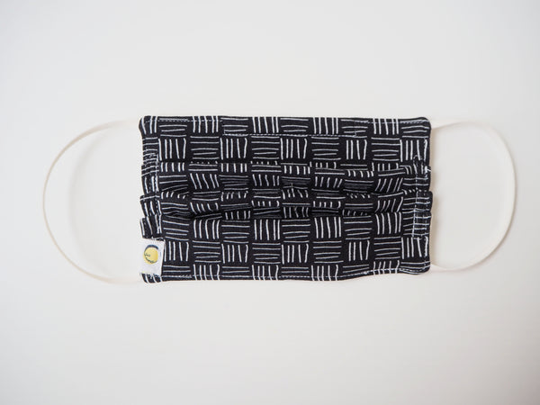 Reusable ADULT Face mask - Black striped boxes