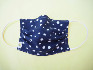 Reusable ADULT Face mask - Blue Silver Polka