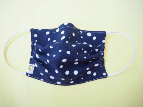 Reusable CHILD Face mask - Blue Silver Polka