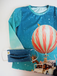 Hot air balloon Safari Dress + matching face mask