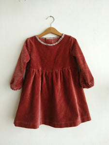 Liberty Velvet dress - Mulled Wine
