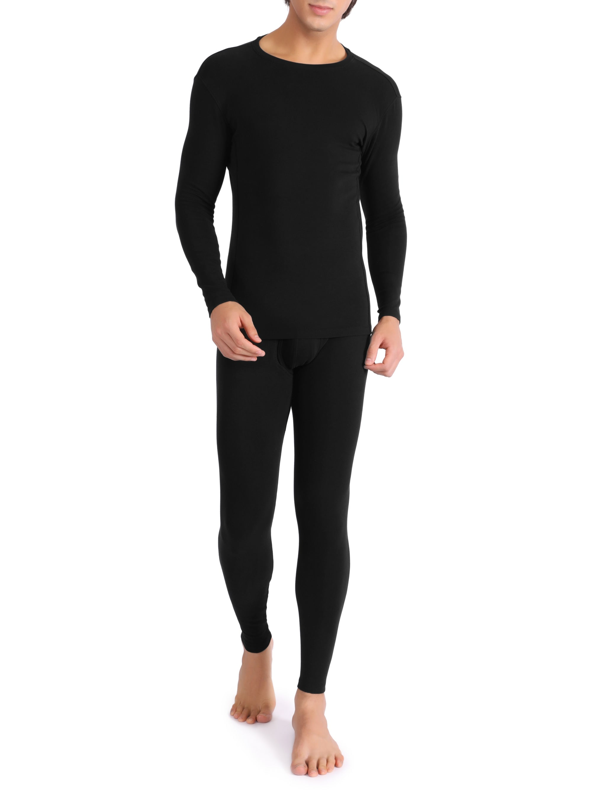 David Archy® Men's Fleece Lined Base Laye Thermal Set with Fly Long Underwear Warm Inner Wear-Thermal-David Archy