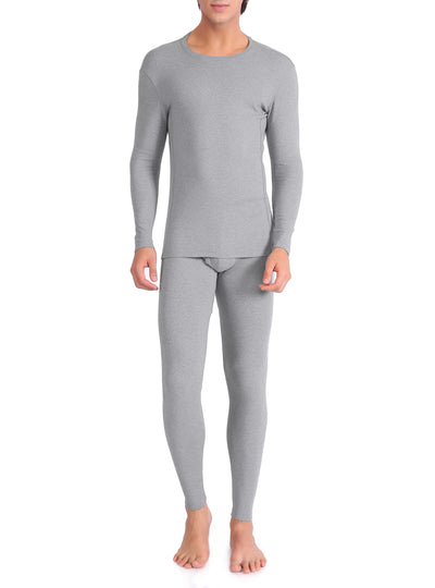 David Archy® Men's Fleece Lined Base Laye Thermal Set with Fly