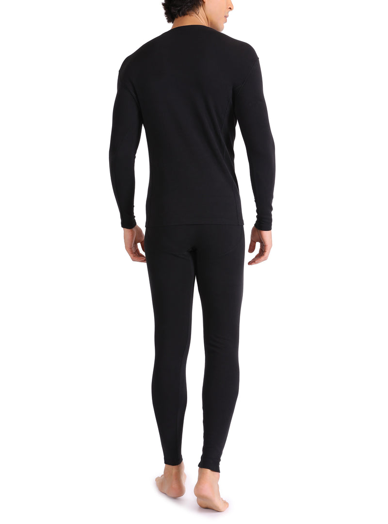 David Archy® Men's Fleece Lined Base Laye Thermal Set with Fly Long Underwear Warm Inner Wear