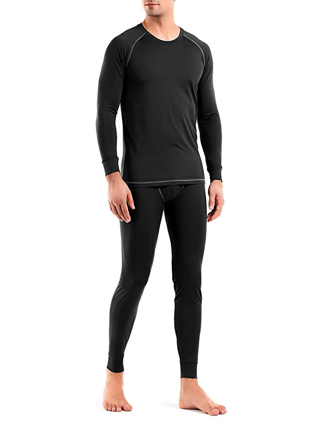 David Archy® Men's Quick Dry Base Layer Thermal Set Top & Bottom Fleece Lined Black Long Johns-Thermal-David Archy