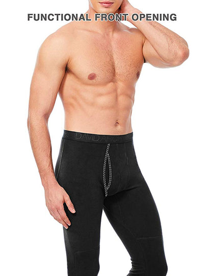 David Archy® Men's Fleece Lined Thermal Underwear Set Ultra Soft Brushed Long Underwear Pants with Fly-Thermal-David Archy