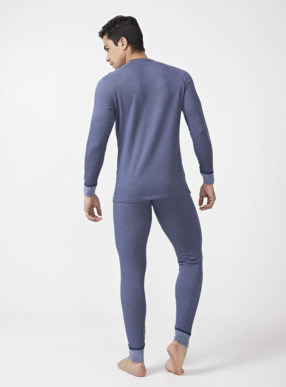 DAVID ARCHY Mens Winter Warm Stretchy Fleece Lined Base Layer Thermal Set Long John with Fly