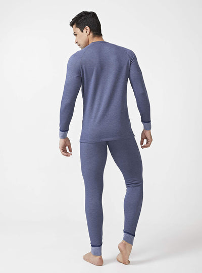 David Archy® Men's Double Layer Fleece Brushed Stripe Thermal Underwear Set Warm Stretchy Long Johns No Fly-Thermal-David Archy