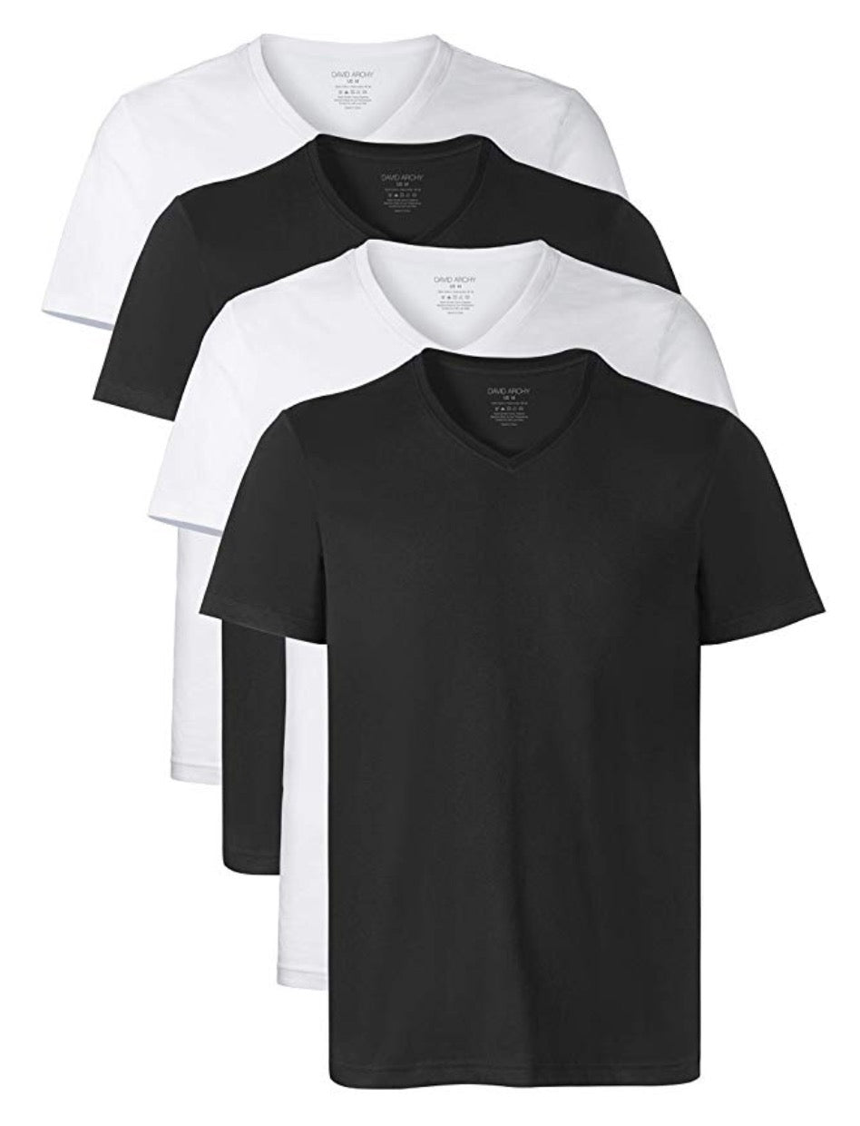 David Archy® Men's Premium Cotton Short Sleeve V-Neck Undershirt 4 Pack-Men's Undershirts-David Archy