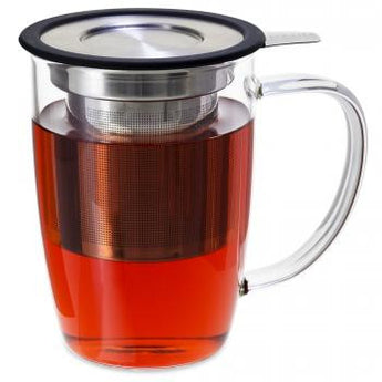 NewLeaf Glass Tall Tea Mug with Infuser & Lid 16oz.