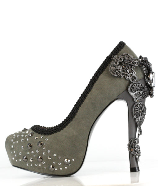 Grey Suede High Heel with Intricate Silver Filigree on Heel