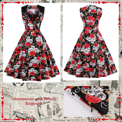 Retro Rockabilly Skull and Roses Dress with Sweetheart Bust and Black Accent Panel