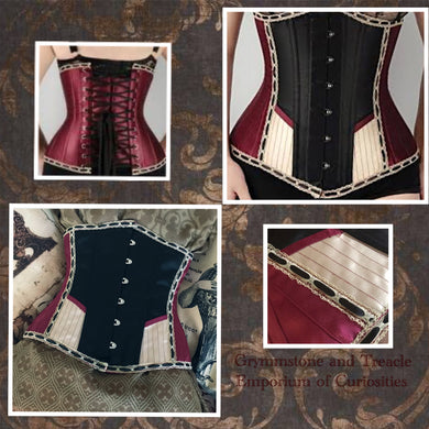 Victorian Circus Longline Burgundy, Champagne, and Black Panelled Corset with Lace and Ribbon Trim