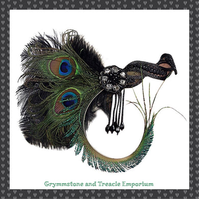 Great Gatsby Style Headpiece on jewelled band with peacock feathers