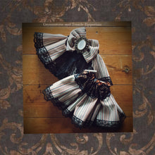 Striped Bustle, Shrug, Hat and Cuffs Set - One of a Kind