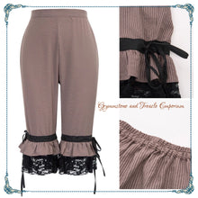 Bloomers in a sand and taupe stripe with lace trim