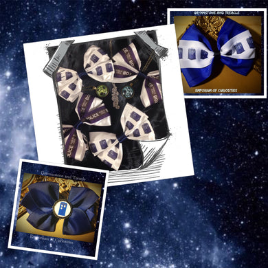 A range of Dr Who themed Hairbows Handmade in Blue and White with the Tardis