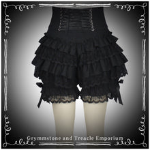 back of the black on black ruffled bloomers