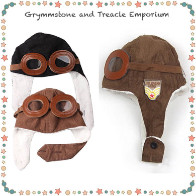 Adorable wooly beanie for wee ones, made to look like an aviators hat, with little foam goggles and ear flaps