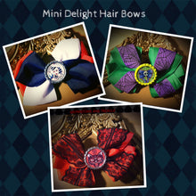 Mini Delight Hair Bows - vintage style Hello Sailor; Purple Spiderweb and Green Ribbon Ghoul, and Red and Black Lace Scaredy Cat Handmade Hair Bows
