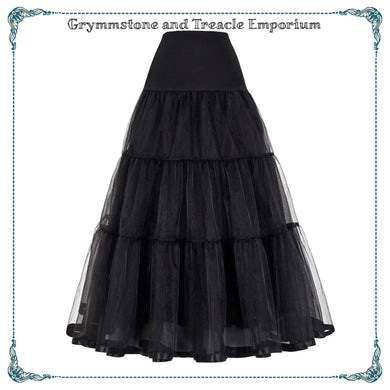 Long Tiered Organza Petticoat with Stretch Waist in Black