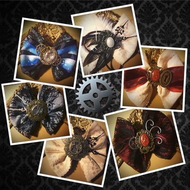 Steampunk Handmade Hair Bows made with a variety of ribbons, lace, cogs, cameos and clock hands