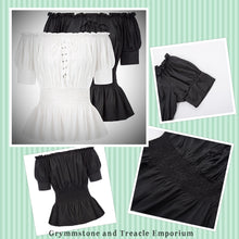 Branwen Steampunk Victorian Shirred Waist Blouse with Lantern Sleeves and Laced Bodice in Ivory and Black