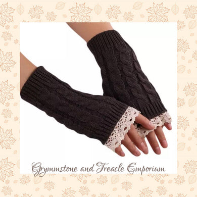 Fingerless Gloves - with Crochet Lace Trim