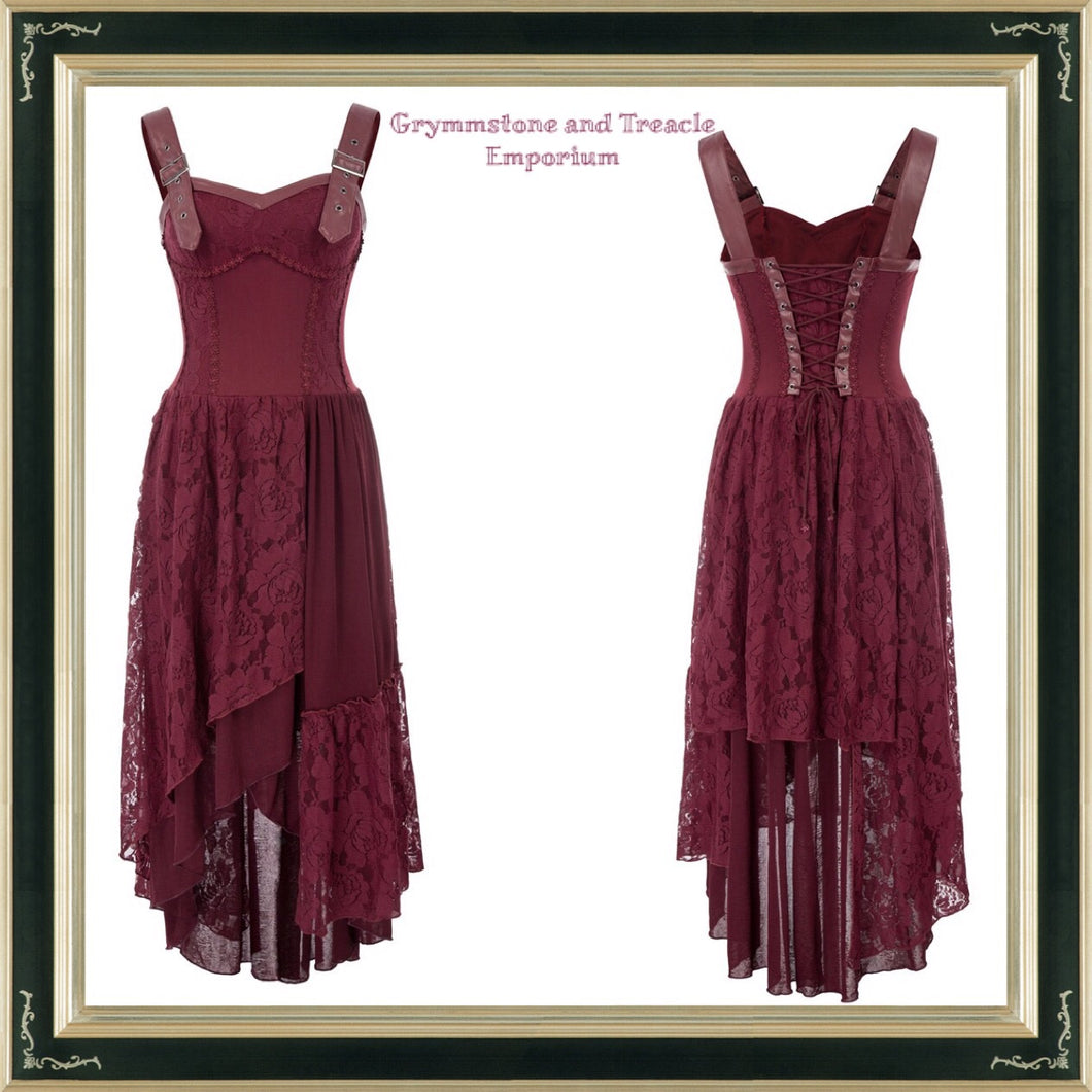 Maroon steampunk boho dress