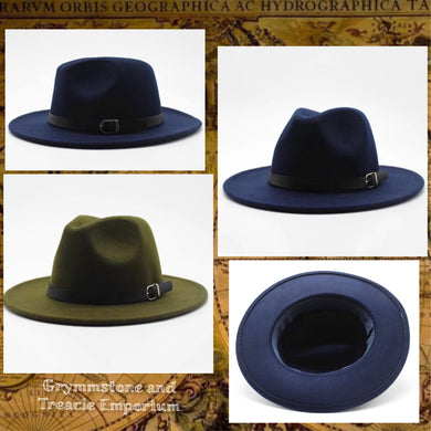 Indiana Jones Style Fedora in Navy or Olive with Leather Belt around base of the crown