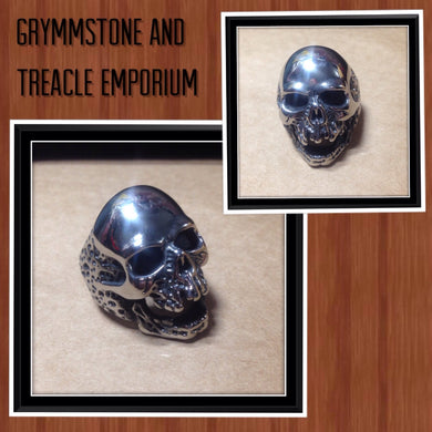large silver skull ring