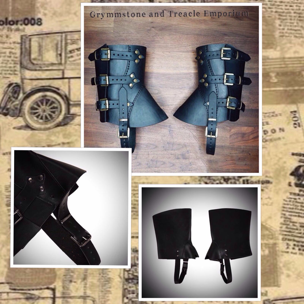 Adjustable PU Leather short spats/gaiters with silver rivets and buckles
