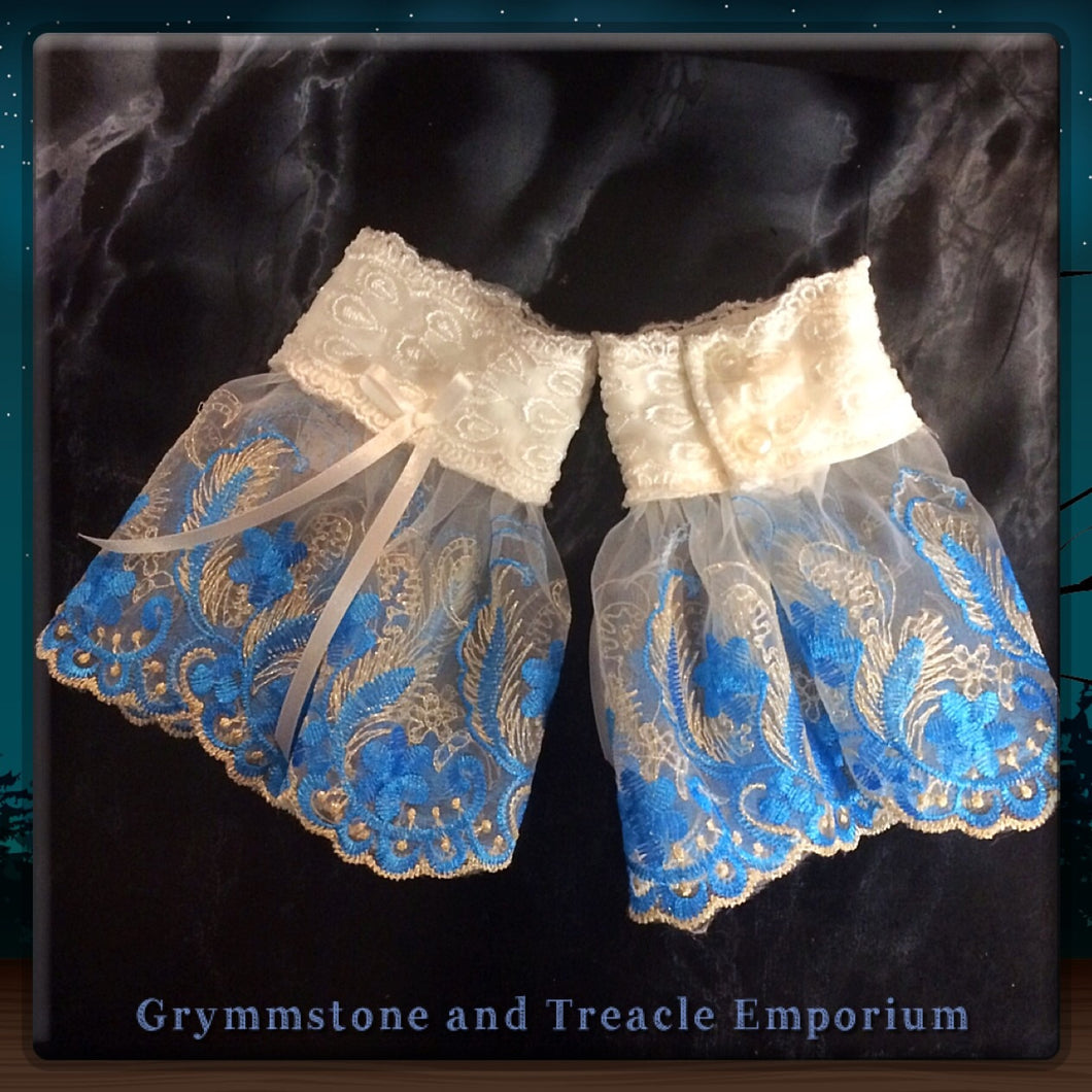 Lace Cuffs - Sky Blue and White.