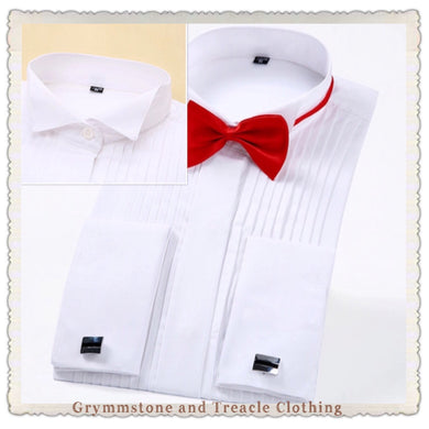wing tip collar formal shirt French cuffs white