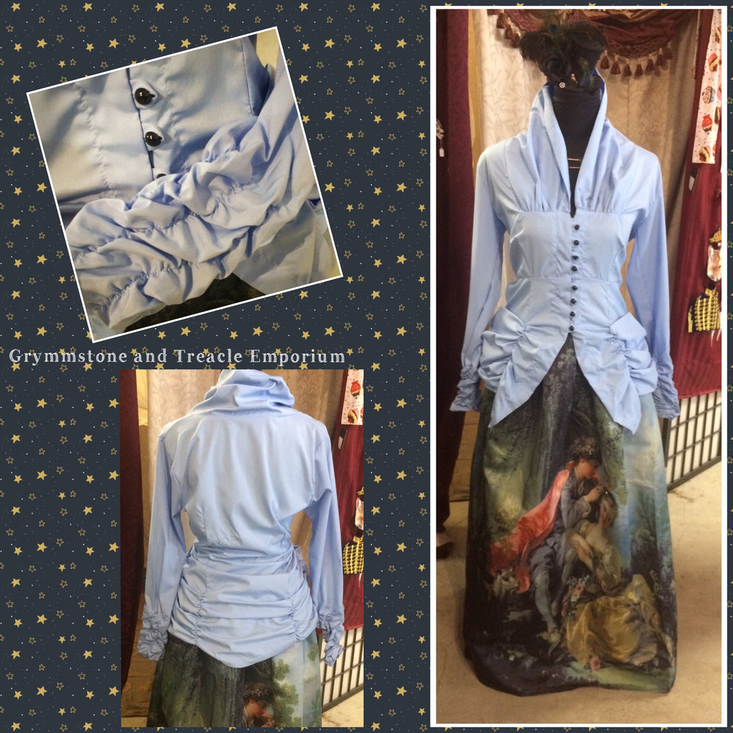 Bellagio Poet's Blouse in Celestial Blue with gathered and ruched sleeves and neckline with black buttons