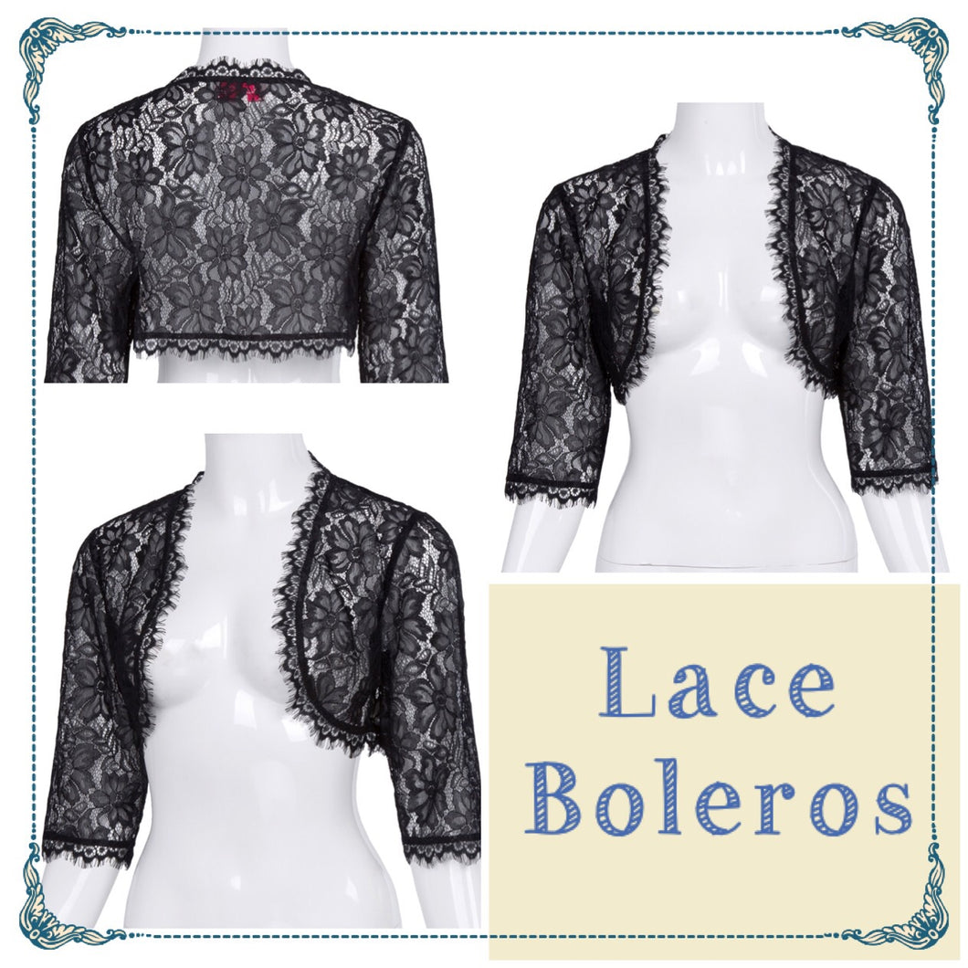 Black lace bolero with 3/4 sleeves