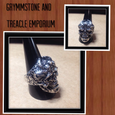 Ornate Silver and Black Skull Ring