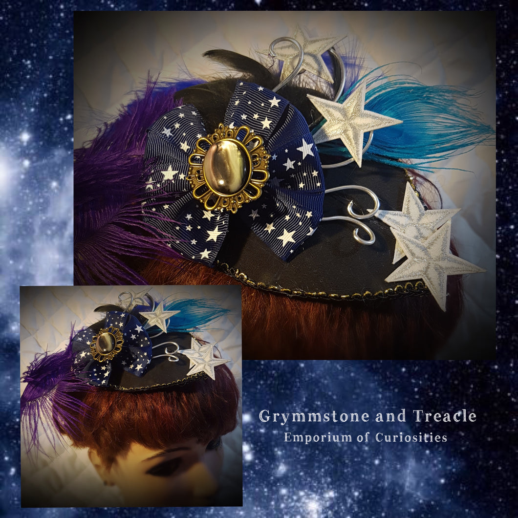 Fascinator with Blue Star Ribbon and Silver Embroidered Stars