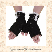 Fingerless Gloves with button detail and lace