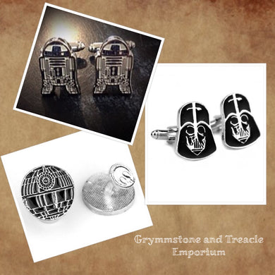 cufflinks, Star Wars Darth Vader, R2D2, Death Star