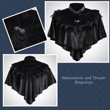 Florentine Velvet and Lace Victorian Gothic Cape in Ebony
