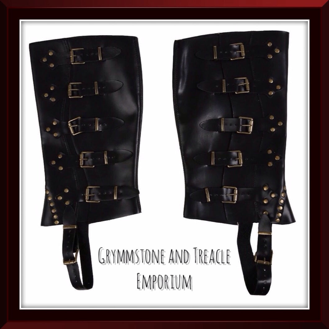 Faux Leather Spats that sit over top of your shoes, black with bronze rivets and buckles