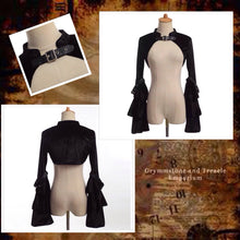 Velvet Steam-goth bolero with faux leather adjustable closure at neck and on the sleeves