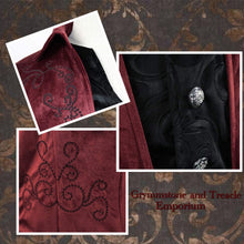 Close up detail of embroidery and embossed velvet on velvet steampunk Victorian gothic tailcoat