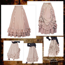 striped bustle skirt with tiered ruffles